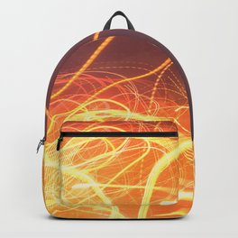 Late Night Venture Through a Bustling City of Lights Backpack