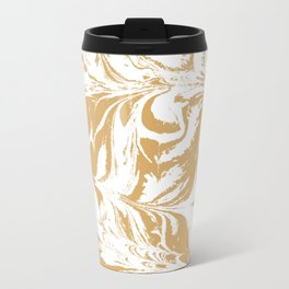 Suminagashi japanese spilled ink watercolor swirl marble pattern ocean gold and white minimalist art Travel Mug