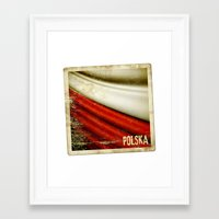 poland Framed Art Prints featuring STICKER OF POLAND flag by Lulla