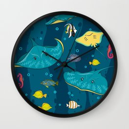 Decorative seamless pattern with sea fish on blue background. Wall Clock