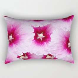 FUCHSIA-PINK HOLLYHOCK  FLOWER PATTERNS Rectangular Pillow