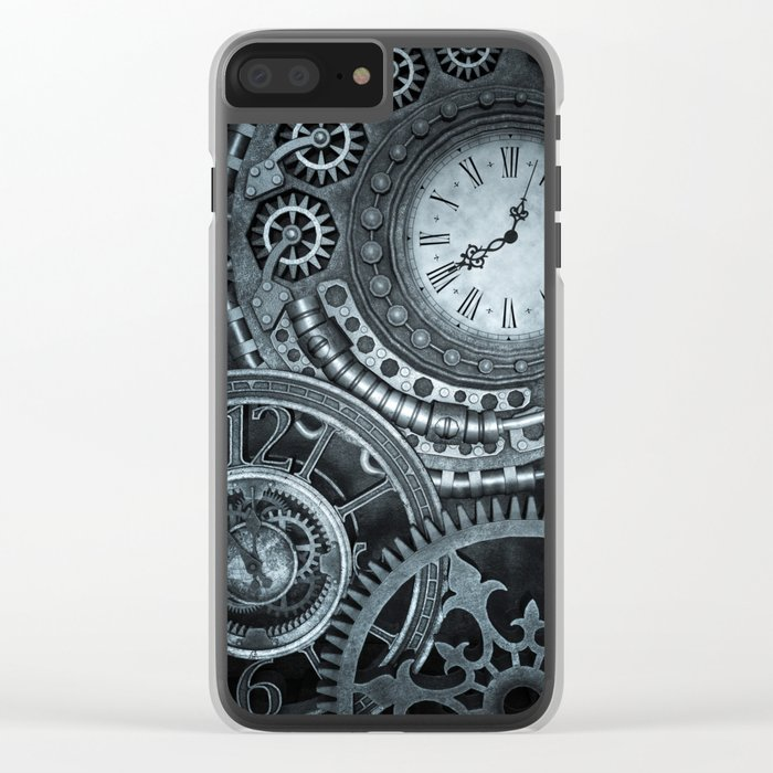 Silver Steampunk Clockwork Clear iPhone Case