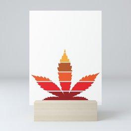 Marijuana Leaf Vintage Retro Sunset Inspired Design design Mini Art Print