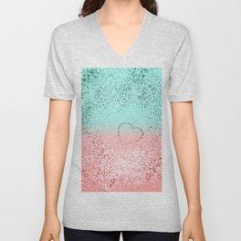 Summer Vibes Glitter Heart #1 #coral #mint #shiny #decor #art #society6 Unisex V-Neck