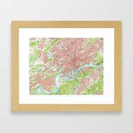 Vintage Map of Knoxville Tennessee (1966) Framed Art Print