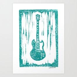 Brittany Howard's (Alabama Shakes) Gibson SG Les Paul Custom 3-Pickup Electric Guitar Linocut Print Art Print