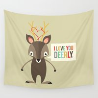 beaver Wall Tapestries featuring I Love You Deerly by Steph Dillon