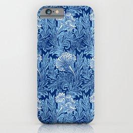 Jacobean Flower Damask, Cobalt and Light Blue iPhone Case