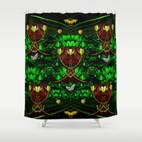 leather Shower Curtains featuring Leather Heads by Pepita Selles