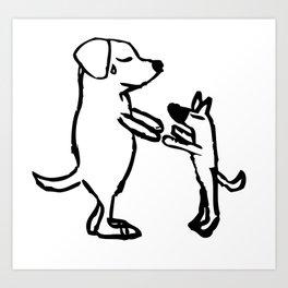 Doggie friends Art Print