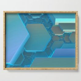 Hexagon Blues Serving Tray