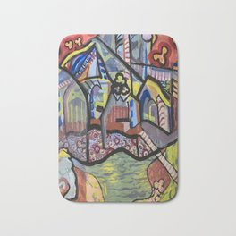 The Church at Auvers a la Mela Bath Mat