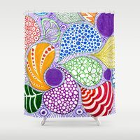 valentine Shower Curtains featuring Valentine by Bunyip Designs
