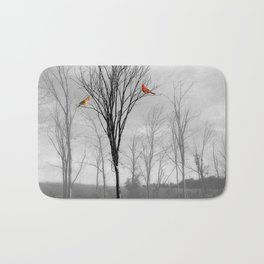 Red birds Cardinals Tree Fog A112 Bath Mat