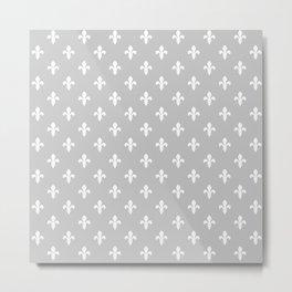 Fleur-de-Lis (White & Gray Pattern) Metal Print