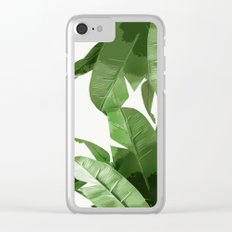Tropical Palm Print Treetop Greenery Clear iPhone Case