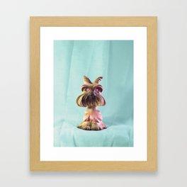 Demon Puppy With Plastic Gemstone Eyes Framed Art Print