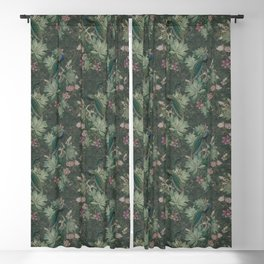 Bloomartgallery_Antique green peacock botanical exotic pattern Blackout Curtain