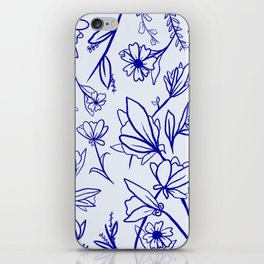Floral Blue Moss iPhone Skin