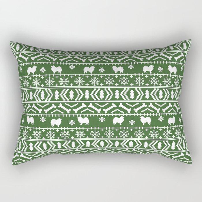 Japanese Spitz fair isle dog breed silhouette pet art pattern christmas ugly sweater Rectangular Pillow