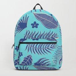 Tropical Leaf Pattern - Blue Backpack