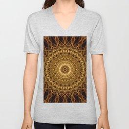 Golden ornamented mandala Unisex V-Neck