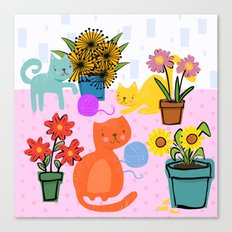 Three Curious Cats Canvas Print