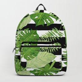 Tropical Leaves Over Striped Background Backpack