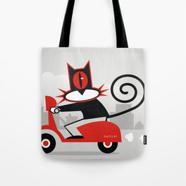 Hellcat on a scooter Tote Bag