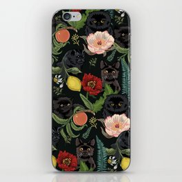Botanical and Black Cats iPhone Skin