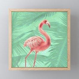Mint + Pink Tropical Flamingo Framed Mini Art Print