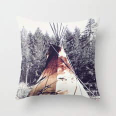 Tipi With Painted Elk And Birds Throw Pillow
