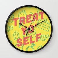 treat yo self Wall Clocks featuring Treat Yo' Self by Zeke Tucker