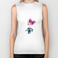 fashion illustration Biker Tanks featuring fashion illustration by Ivy Gao