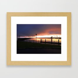 Seal Beach Storm Sunset Framed Art Print