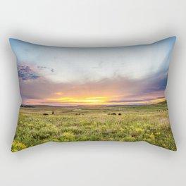 Tallgrass Prairie - Sunset and Bison on the Plains Rectangular Pillow