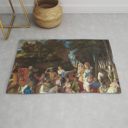 The Feast of the Gods Painting by Giovanni Bellini and Titian Rug
