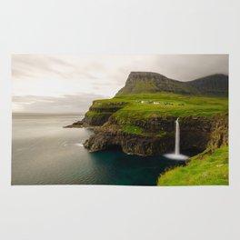 Gasadalur Waterfall in Faroe Islands Rug
