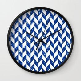 Herringbone Blue Glitter 01 Wall Clock