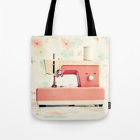 sewing Tote Bags featuring Sewing Machine by Caroline Mint