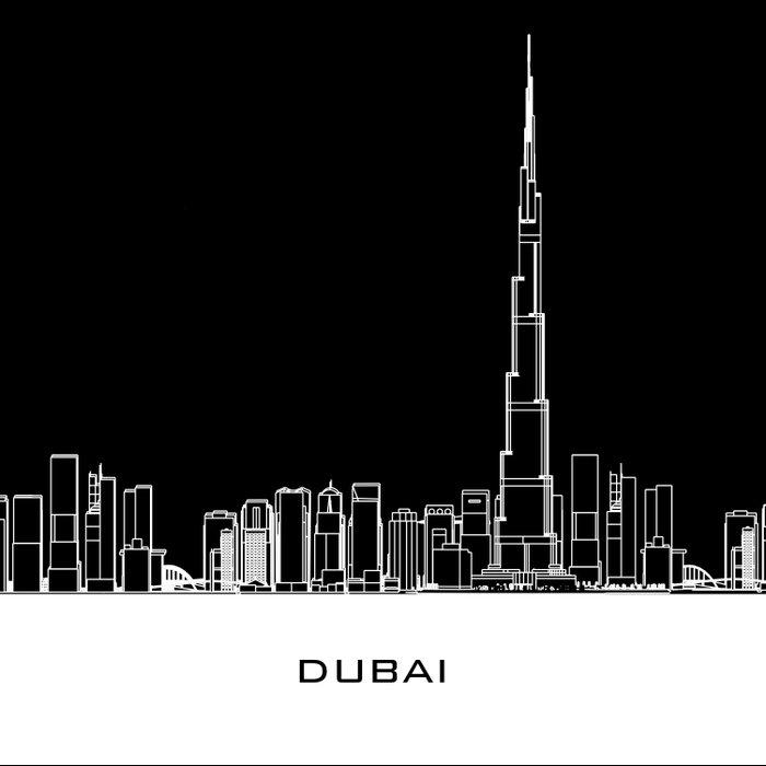 Dubai Skyline - Black Base Duvet Cover