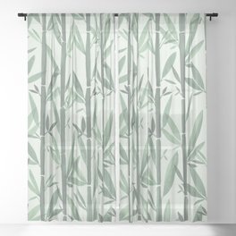 Bamboo Forest Watercolor Sheer Curtain