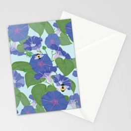 Glory Bee - Vintage Floral Morning Glories and Bumble Bees Stationery Cards