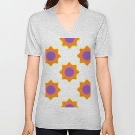 Background in the style of 60x. Stylized flowers on a white background. Unisex V-Neck