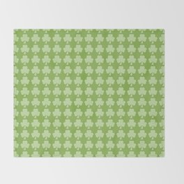 Greenery Shamrock Clover Polka dots St. Patrick's Day Throw Blanket