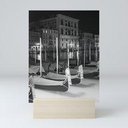 Gondolas in the night Venice Italy black and white Mini Art Print