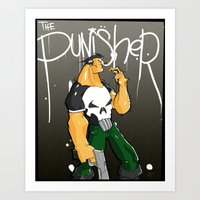 punisher Art Prints featuring The Punisher by Pahito