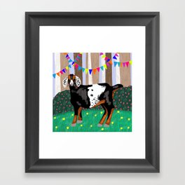 Goat Having a Woodland Party Framed Art Print