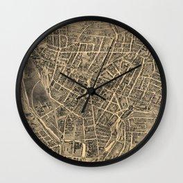 Vintage Pictorial Map of Waterbury CT (1899) Wall Clock