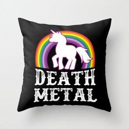 Death Metal Unicorn Throw Pillow